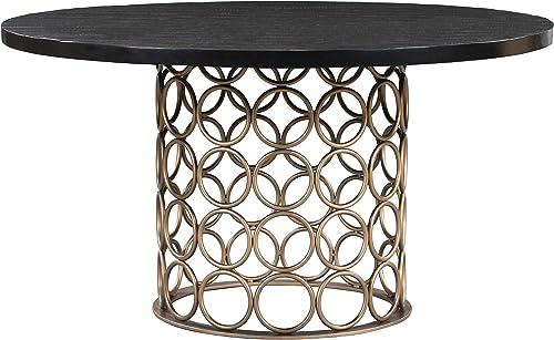 TOV Furniture Valentina Modern Dining Room Table Brass Round