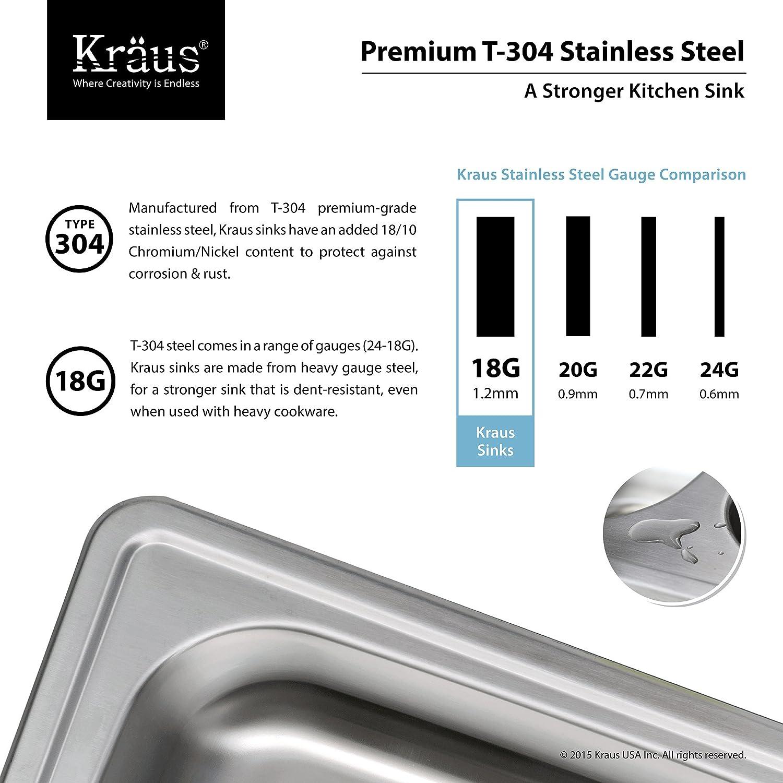 kraus ktm25 25 inch topmount single bowl 18 gauge stainless steel kitchen sink double bowl sinks amazoncom