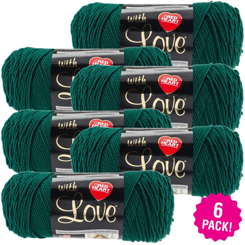 ODDITIES Red Heart With Love Yarn - 6/Pk-Evergreen