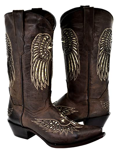 Women's Cross Wing Silver Gold Sequin Cowboy Boots Brown Leather 5 BM
