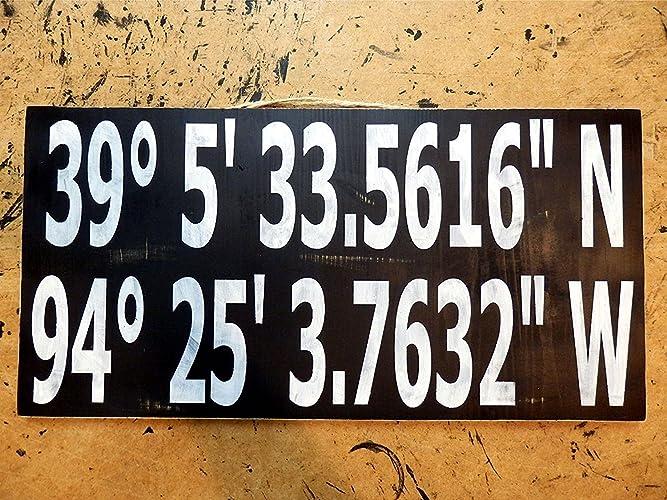 the coordinates longitude and latitude decor sign personalised