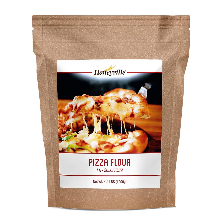 Honeyville Hi-Gluten Pizza Dough Flour - Premium Pizzeria Flour, for Pizza, Pasta, Flatbreads, Focaccia, Crackers, and More (4.4 Pound Pouch)