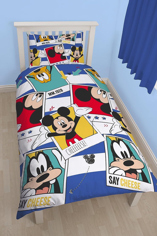 Character World 91 cm para Cama Individual Disney Mickey Mouse Polaroid Juego de Cama Reversible