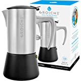 GROSCHE Milano Steel 10 espresso cup Brushed Stainless Steel Stovetop Espresso Maker Moka pot - Cuban Coffee maker…