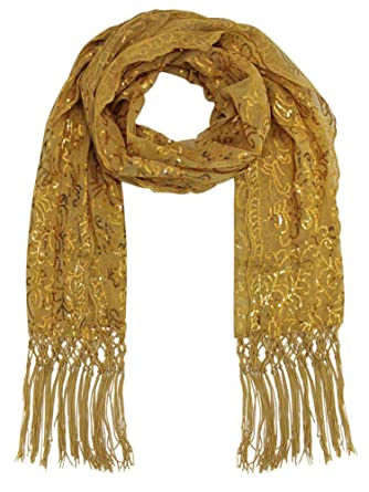 758ed46b9 Gold Filigree Design Sequin Shawl Scarf at Amazon Women's Clothing store: Fashion  Scarves