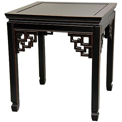 Oriental Furniture Rosewood Square Ming Table   Antique Black
