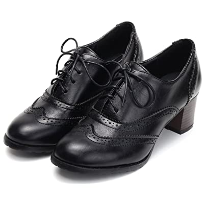 Odema Womens PU Leather Oxfords Brogue Wingtip Lace up Chunky High Heel Shoes Dress Pumps Oxfords | Oxfords