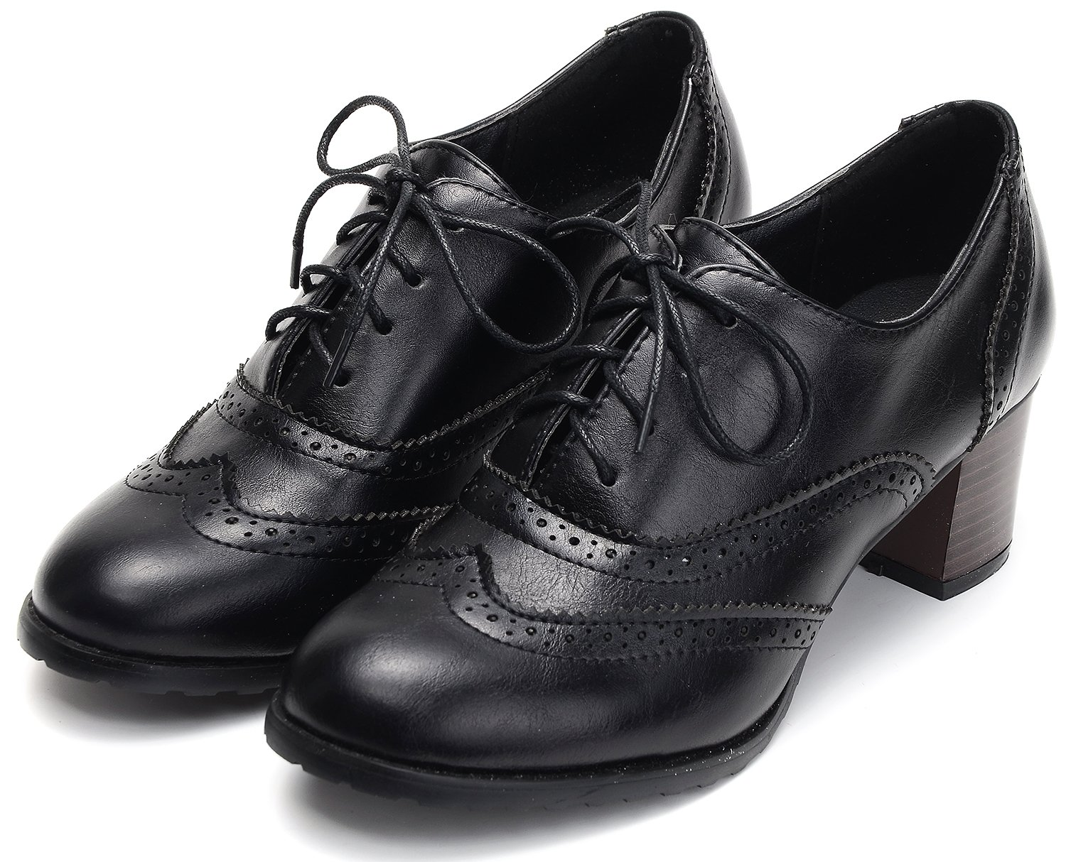 Odema Womens pu Leather Brogue Oxfords Wingtip Lace Up Dress Shoes High Heels Pumps Black by Odema