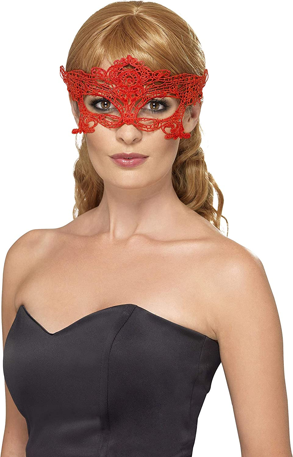 Embroidered Lace Filigree Heart Eyemask Ladies Masquerade Fancy Dress Mask