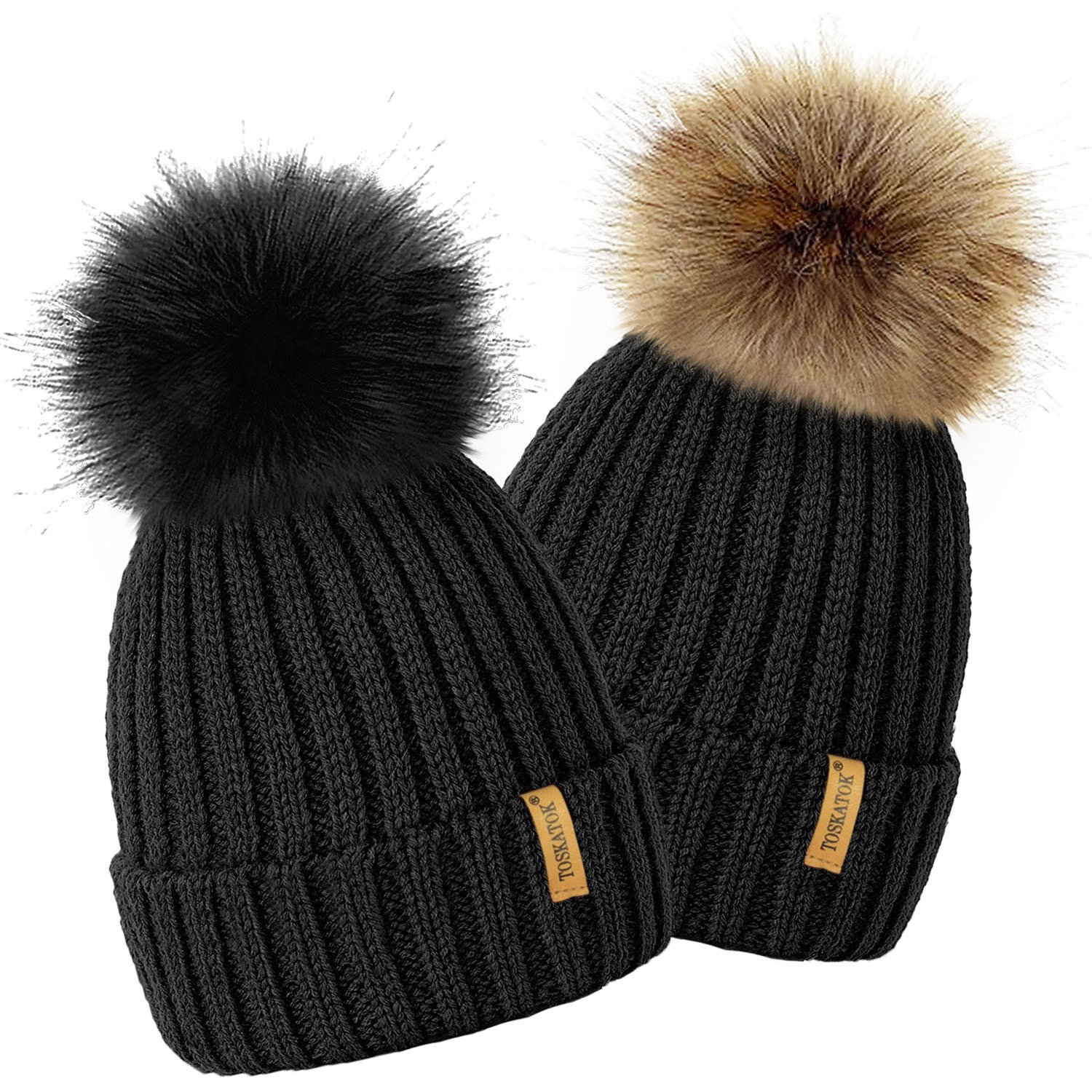 77429173835 TOSKATOK® Ladies Girls Chunky 3 in 1 Rib Beanie Hat with 2 Interchangeable  Large Faux fur Pompoms-BLACK  Amazon.co.uk  Clothing