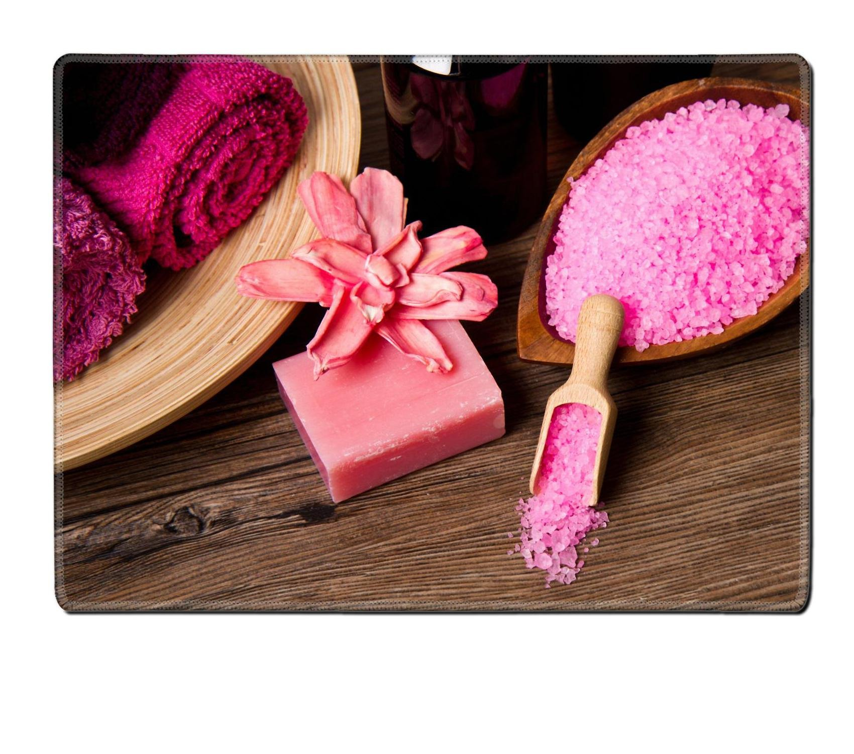 MSD Placemat Non-Slip Natural Rubber Desk Pads Place-mats Design 23908738 Pink Spa Tools with Candle AMD Towel on Wood by MSD (Image #2)