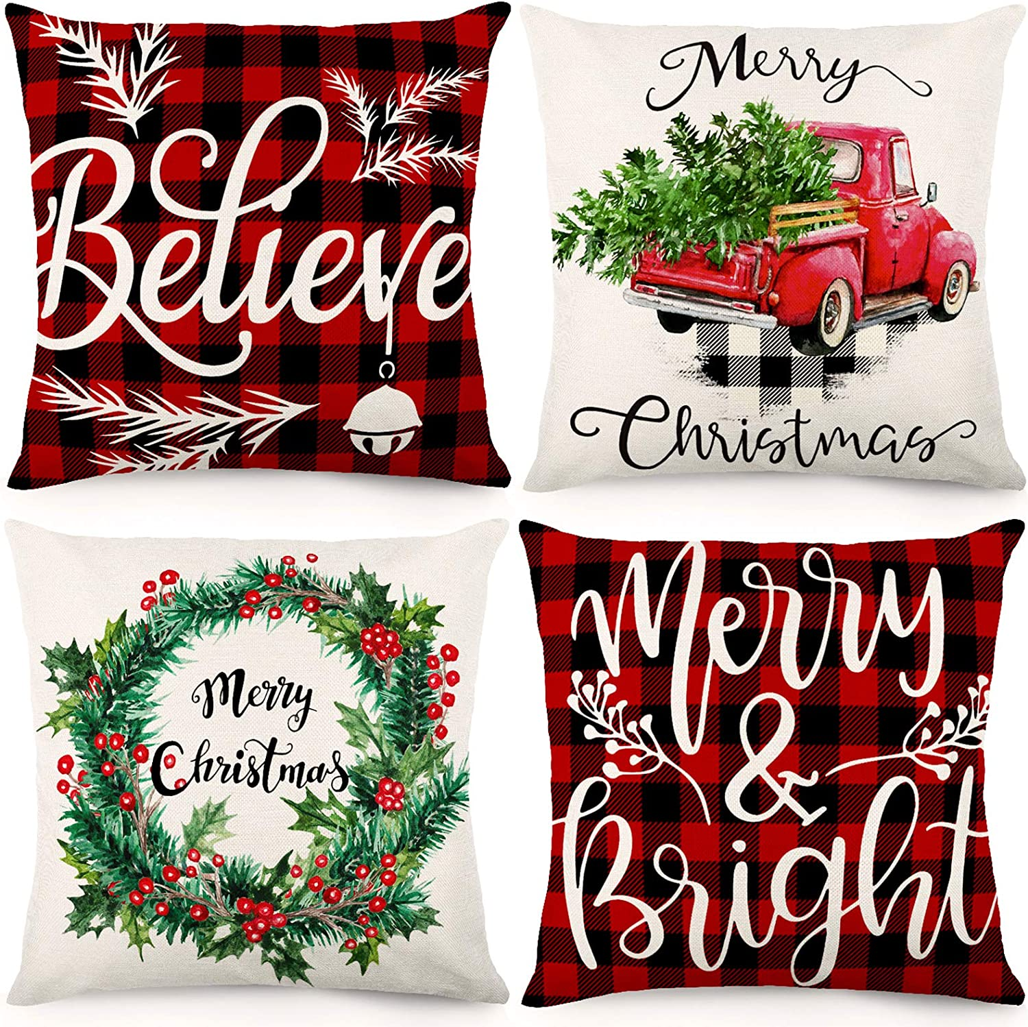 CDWERD Christmas Pillow Covers 18x18Inches Christmas Decorations Farmhouse Buffalo Check Plaid Throw Pillowcase Winter Holiday Cotton Linen Cushion Case for Home Decor Set of 4