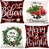 CDWERD Christmas Pillow Covers 18x18Inches Christmas Decorations Farmhouse Buffalo Check Plaid Throw Pillowcase Winter Holida
