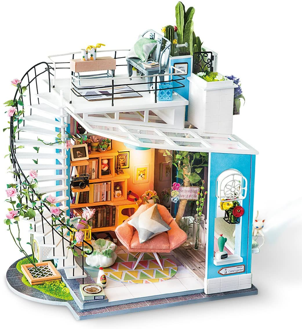 ROBOTIME DIY Miniature Dollhouse Kit - 1:24 Scale Dollhouse Room Kit with LED Light - DIY House Kit with Furniture Best Birthday for Women and Men