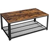 VASAGLE Industrial Coffee Table with Storage Shelf for Living Room, Wood Look Accent Furniture with Metal Frame, Easy…