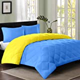Reversible AC Single Bed Comforter/Blanket/Quilt/Duvet For Winters- Sky Blue & Yellow-By Cloth Fusion