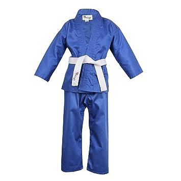 Amazon.com: Azul infantil traje de Karate cinturón blanco ...