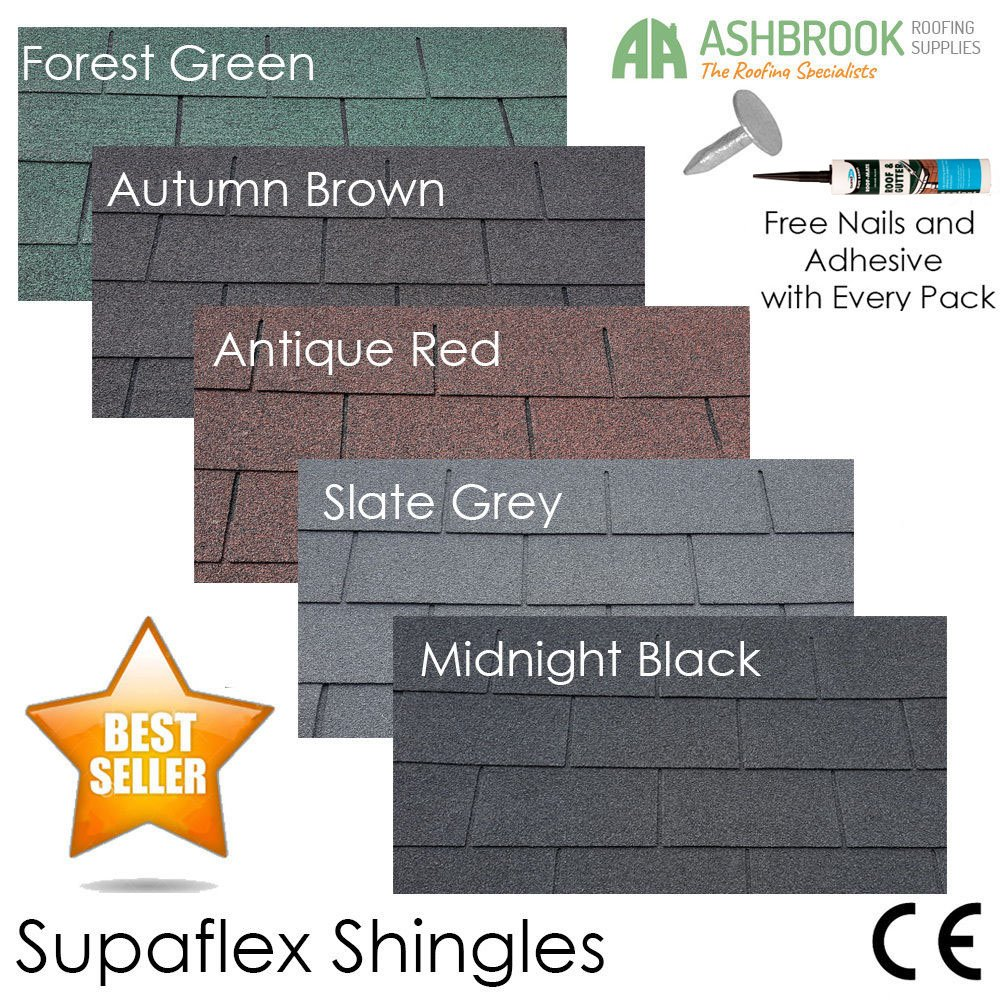 Roofing Felt Shingles | Shed Roof Felt | Square Butt | 4 Tab | FREE Adhesive | 4 Colours | Slate Grey Ashbrook Roofing