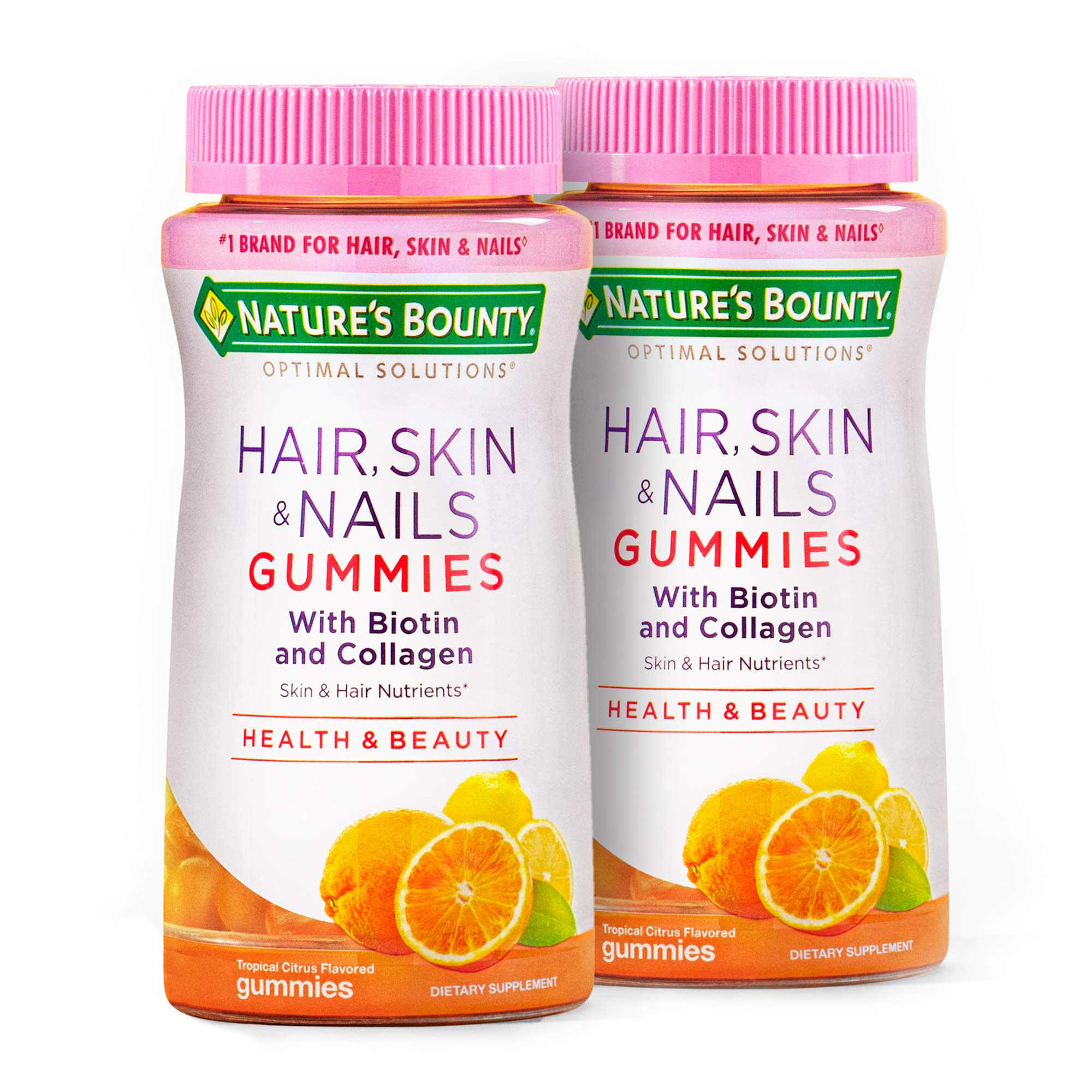 Hair Skin and Nails Vitamins with Biotin & Collagen by Nature's Bounty Optimal Solutions, w/Vitamin C for Immune Support, Hair, Skin and Nails Gummies - Orange Citrus Flavored, 80 Gummies (2-Pack)