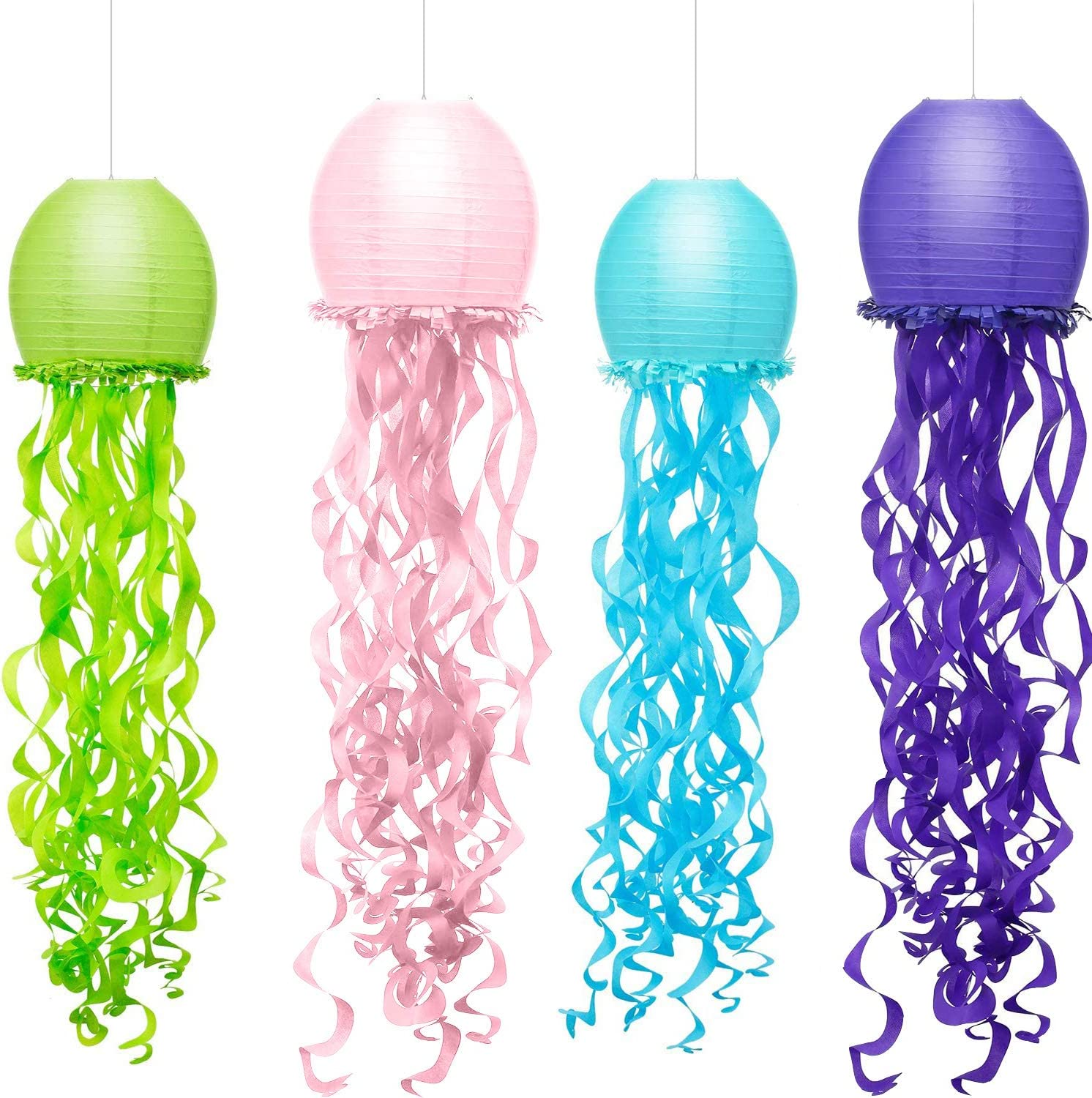 4 Colors Mermaid Wishes Hanging Jellyfish Paper Lanterns 10x36 Inch, ArtStudy Indoor Outdoor Jellyfish Honeycomb Lanterns for Baby Girls Nursery Bedroom Ocean Mermaid Themed Birthday Party Decorations