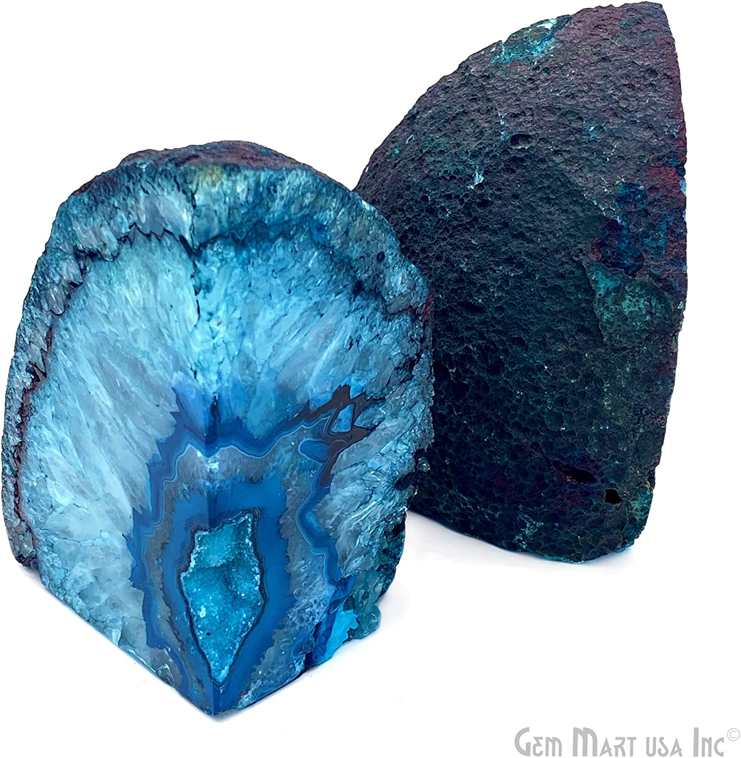 Decorative Genuine Natural Mineral Rock Formation Crafted into Bookends for Gifting Purposes Agate Geode Bookend BKBU-10121