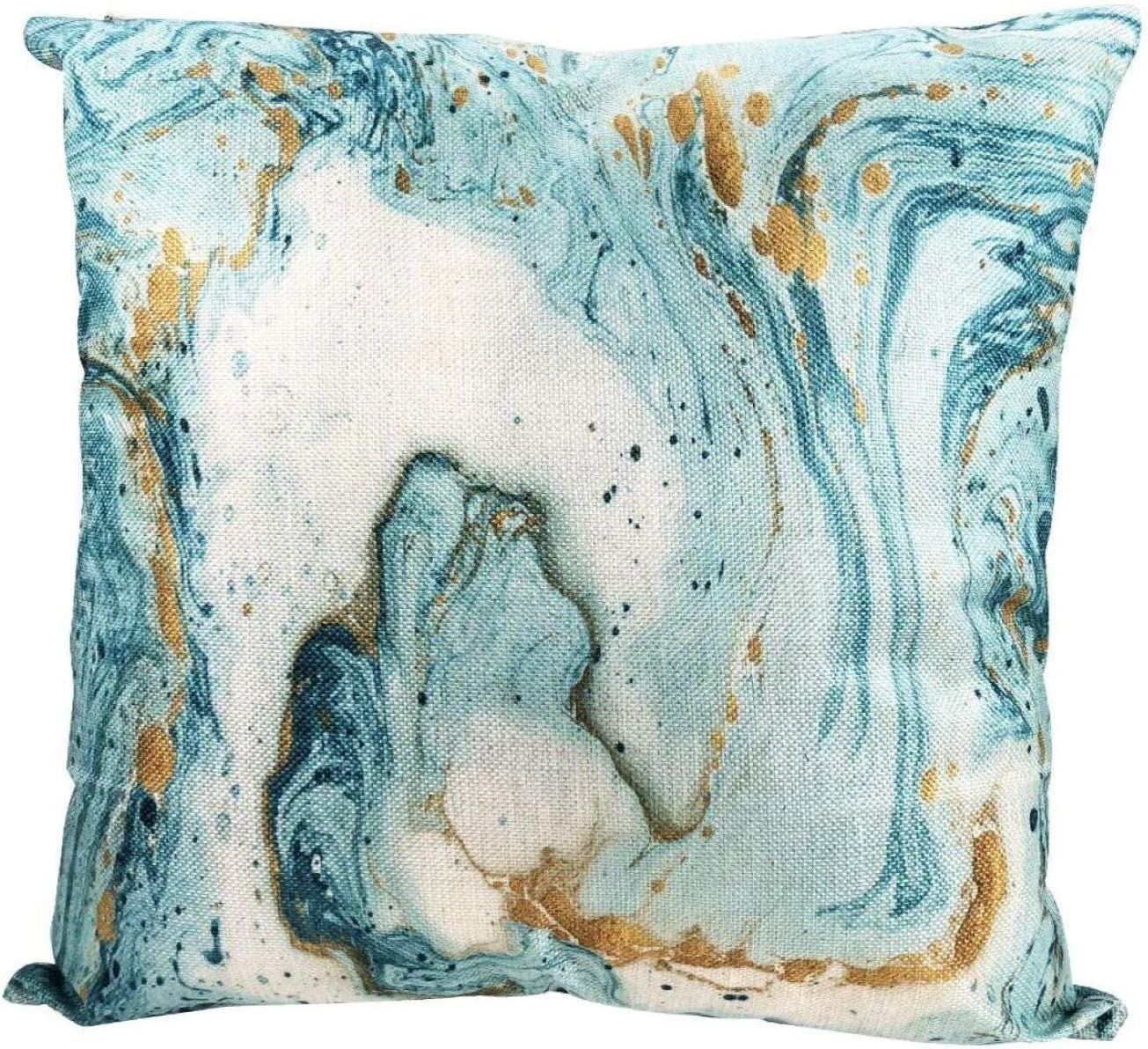 """PILLOW COVER Teal Blue White Abstract Art Home Decor Marble Cushion Case 18x18/"""""""