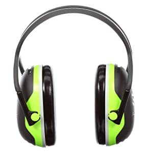 3M Peltor X-Series Over-the-Head Earmuffs, NRR 27 dB, One Size Fits Most, Black/Chartreuse X4A (Pack of 1)