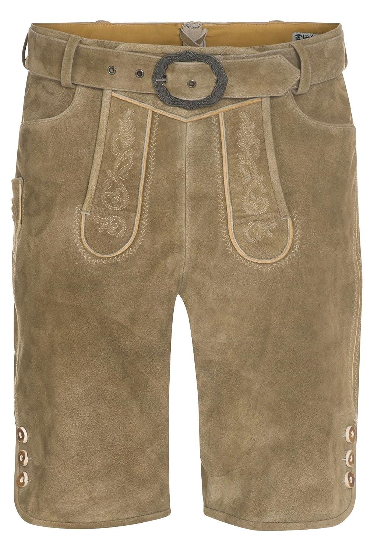 DISTLER Kurze Lederhose mit Gürtel aus Veloursleder Herren Männer Lederhose Lederhosn