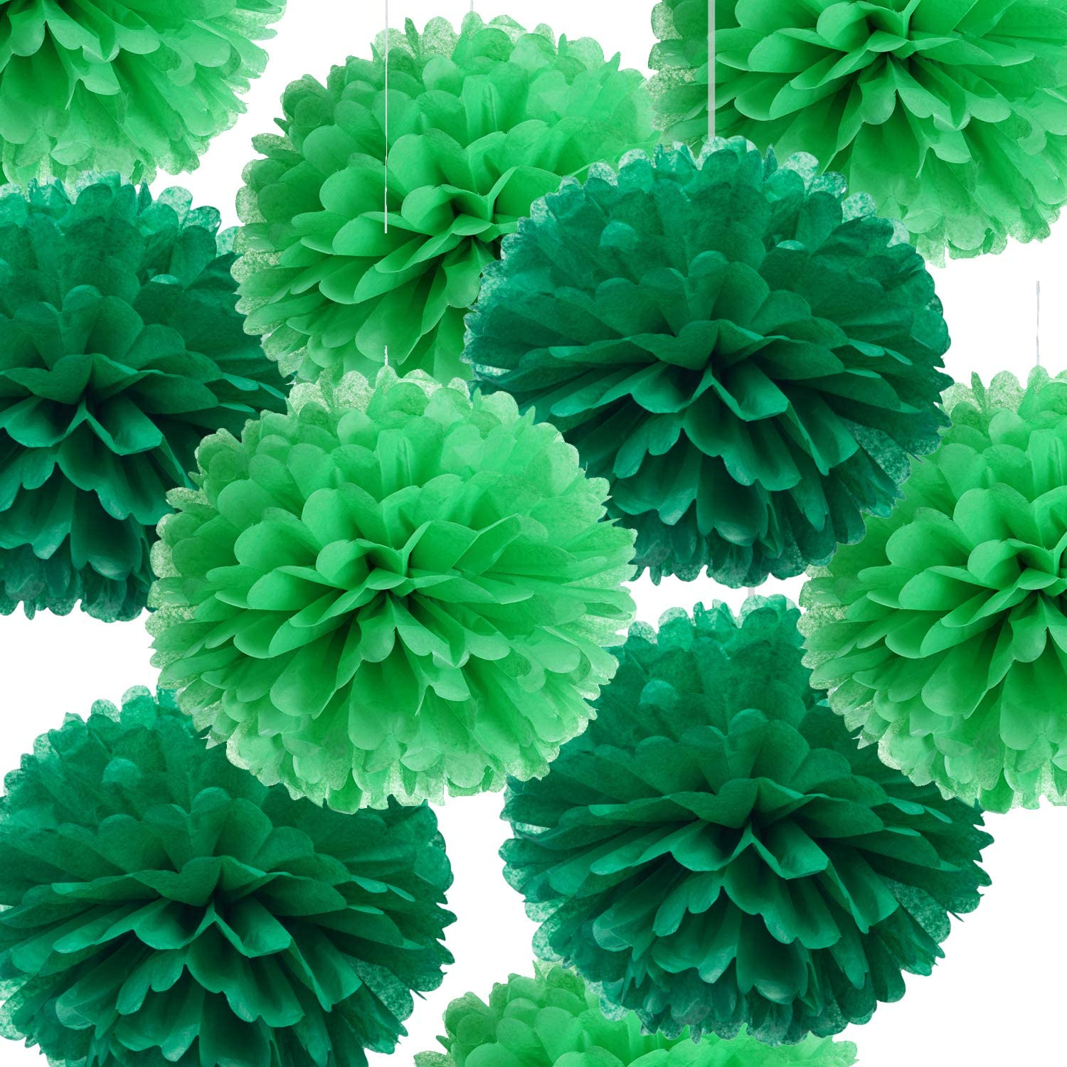 """14"""" Green Tissue Pom Poms Kit DIY Decorative Paper Flowers Ball for Birthday Party Wedding Baby Shower Home Outdoor Hanging Decorations, Pack of 10"""