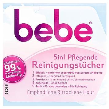 Bebe 5 in1 - Toallitas limpiadoras/toallitas desmaquillantes para piel delicada y seca / 3 envoltorios de 25 unidades: Amazon.es: Belleza