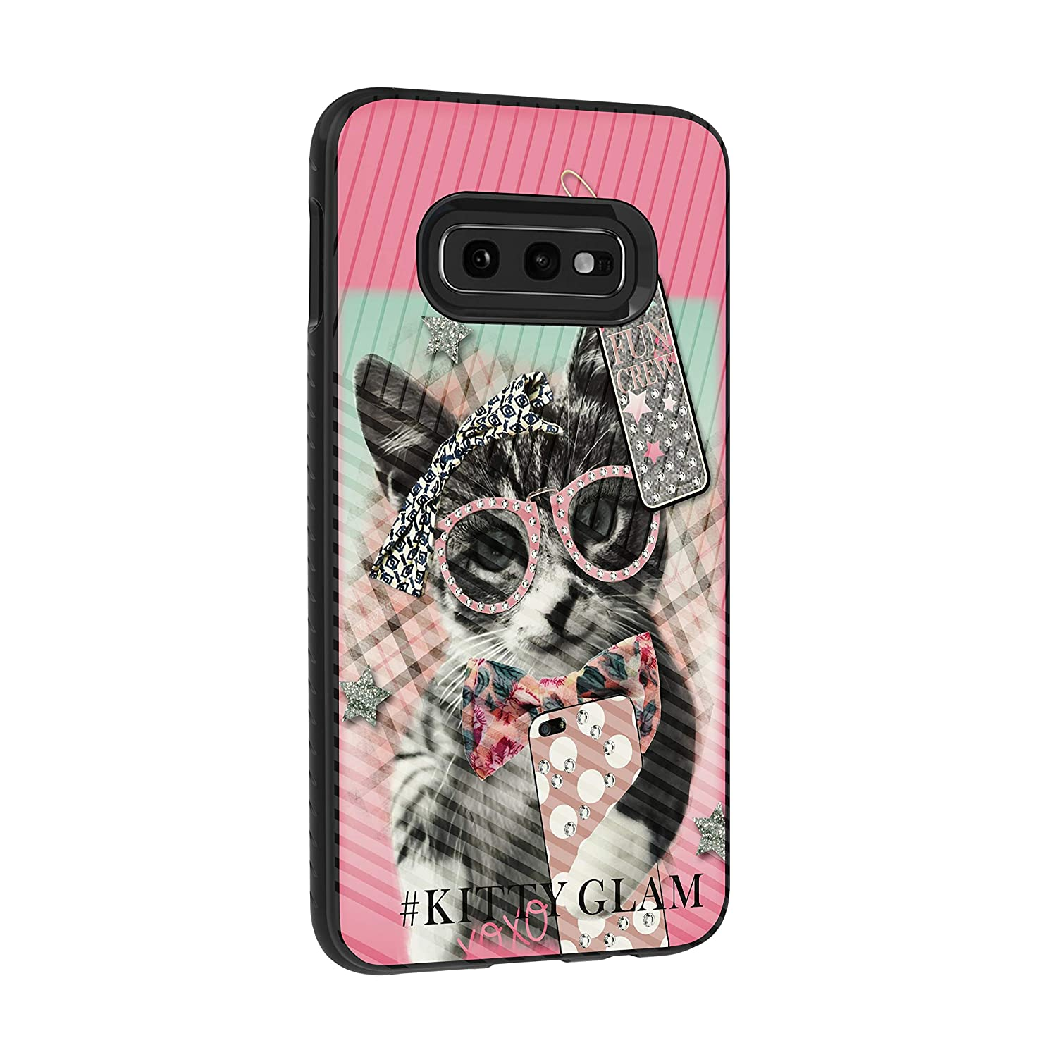 TurtleArmor | Compatible with Samsung Galaxy S10e Case | S10 Lite Case | G970 | Engraved Grooves Slim Armor Dual Layer Hybrid Case Girls - Hipster Cat