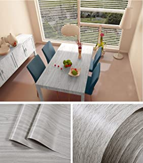 Faux Gray Wood Grain Contact Paper Vinyl Self Adhesive Shelf Drawer Liner  For Kitchen Cabinets ,