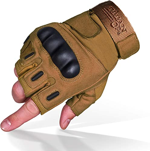 TitanOPS Fingerless Hard Knuckle Motorcycle Military Tactical Combat Training Army Shooting Outdoor Gloves