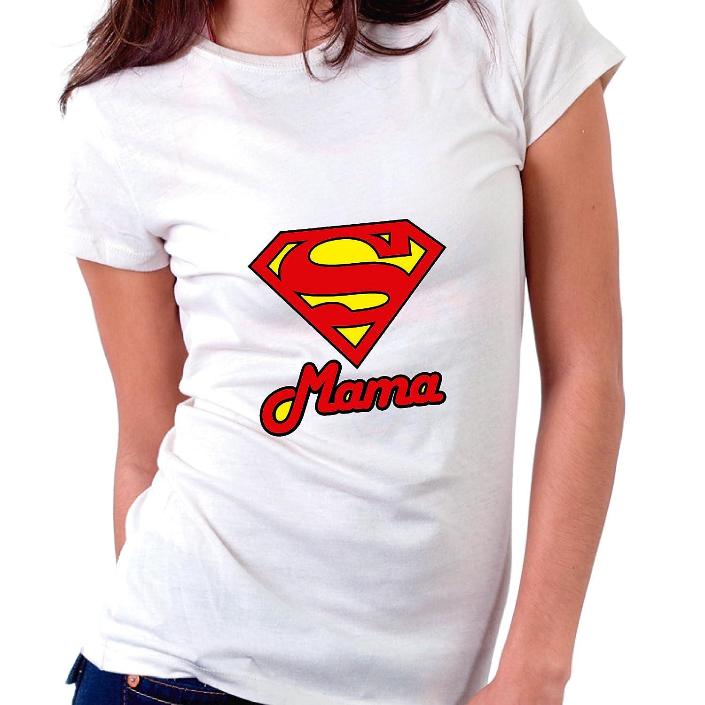 Blanca, M - Normal Custom Vinyl Camiseta Dia de la Madre Supermama