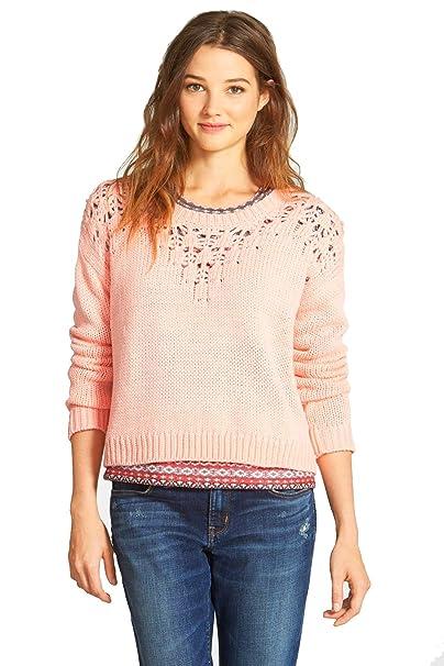 32d629503d1f6 Hinge Pointelle Yoke Crop Sweater at Amazon Women s Clothing store