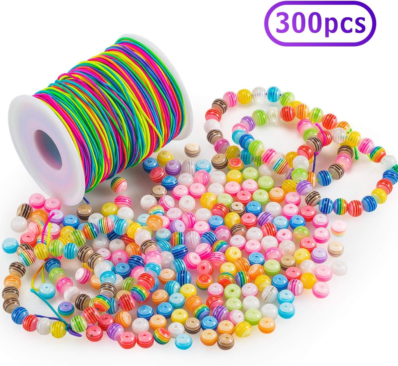 FORMIZON 300 Perlas de Colores con 100 m Elástico Cuerda, Cuentas Artesanales de Bricolaje para Joyería Manualidades, Collar de Brazalete de Regalo para Niños
