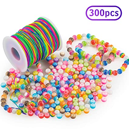 30 Pcs Round Striped Rainbow Style Resin Plastic Spacer Beads Multicolor 8 mm