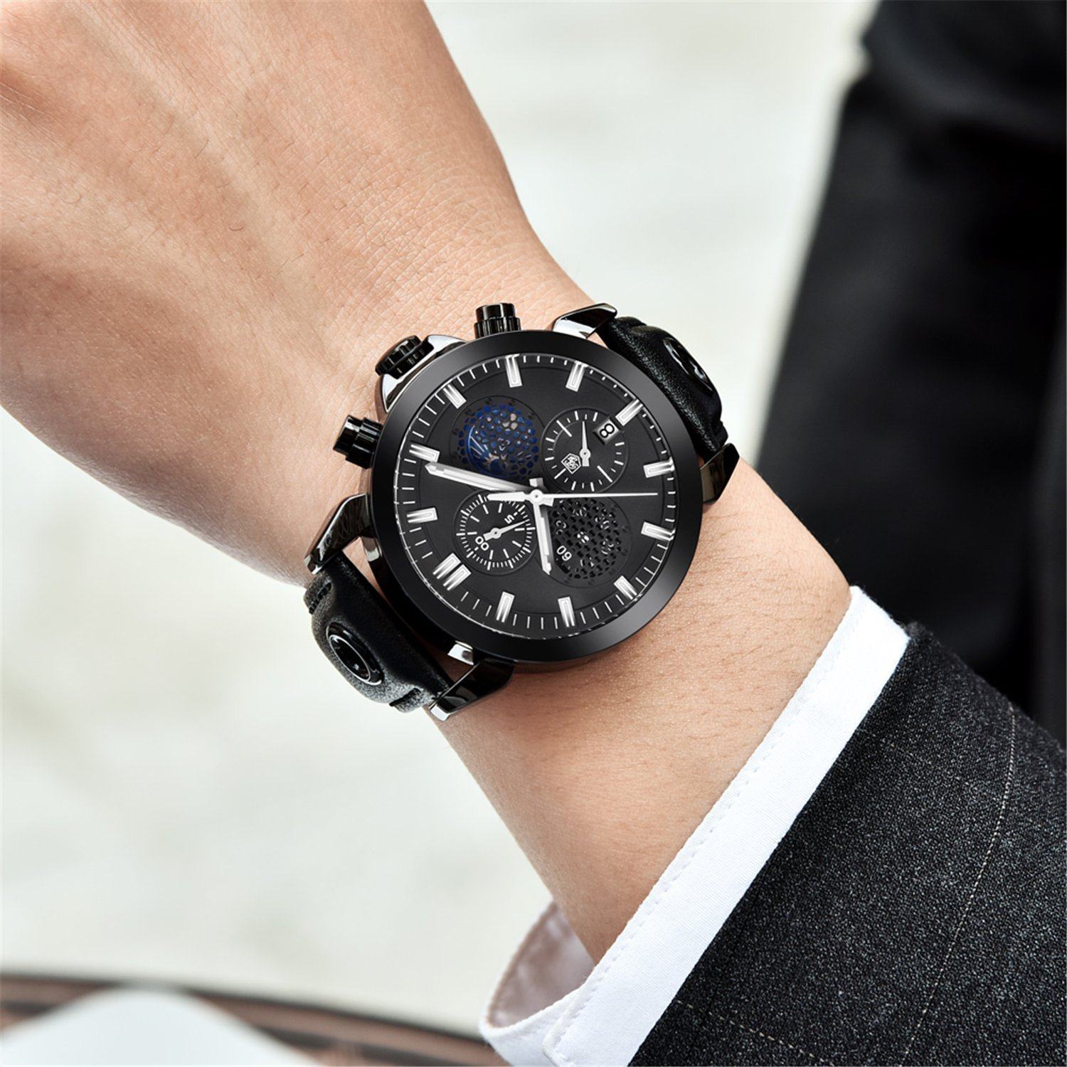 Amazon.com: Fashion MenS Watches Analog Quartz Wristwatch Waterproof Chronograph Auto Date Leather Stop Watch Business (black & red): Watches