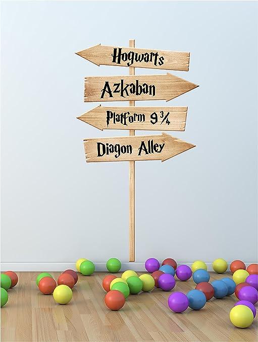 Hogwarts de Harry Potter película lugares Sign Post Impresión de Arte de la pared adhesivo de ventilador (Otros tamaños disponibles), Small 28cm x ...
