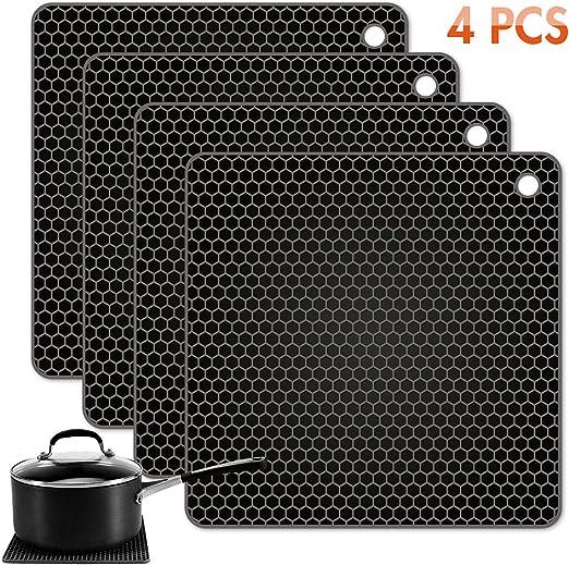 Free Shipping TONMIDEJ Silicone Pot Holder Square Honeycomb Pattern 7.2 x 7.2..
