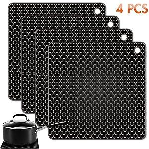 Tonmidej Silicone Pot Holder Square Honeycomb Pattern 7.2 x 7.2 x 0.2 inch/Black - Set of 4