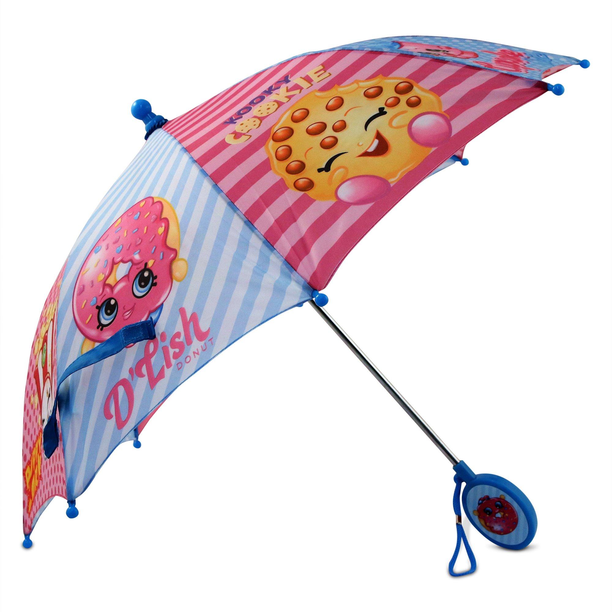 Shopkins Girls' Little Assorted Character Rainwear Umbrella, Blue/Pink, Age 3-7