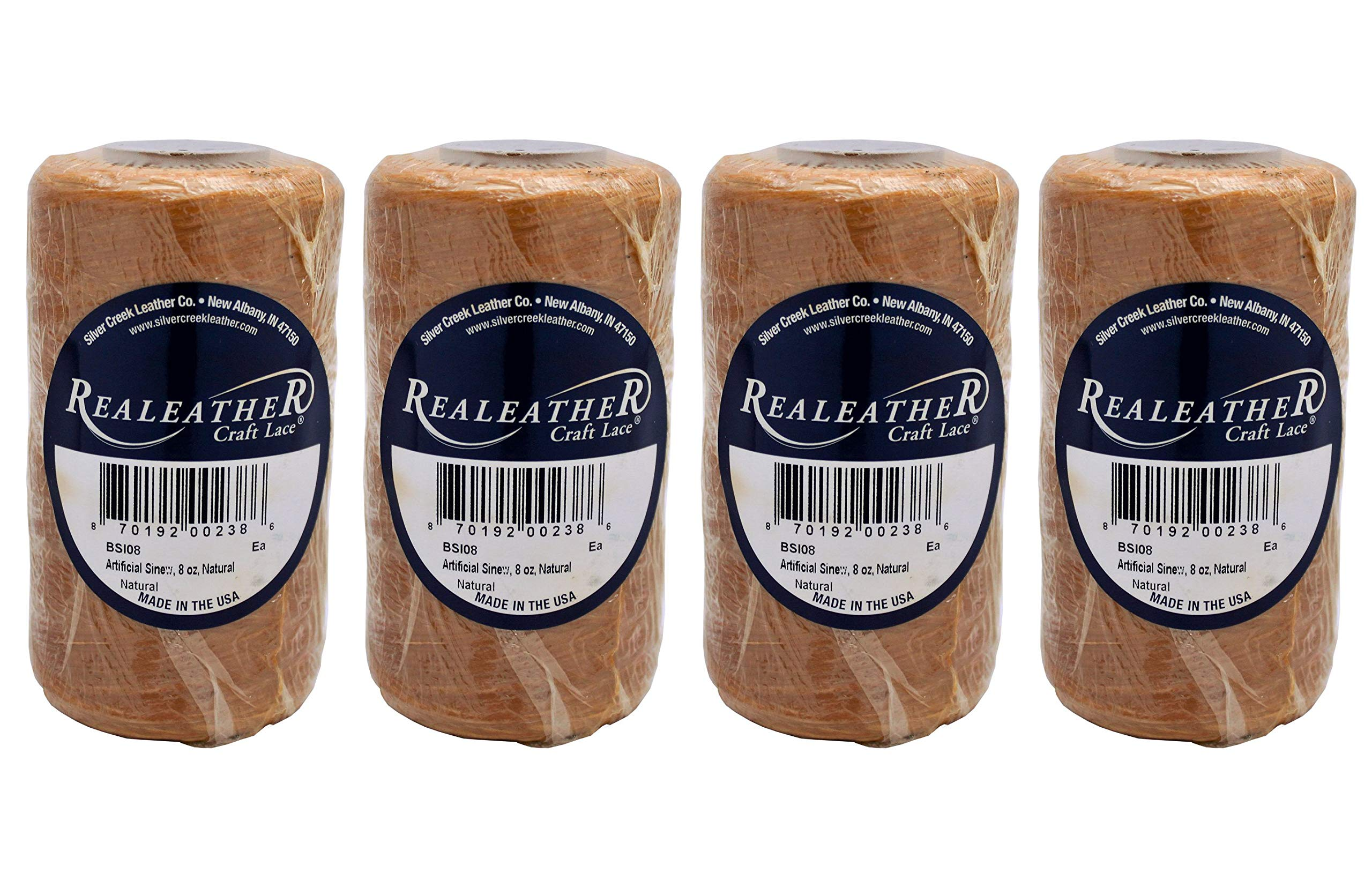 Realeather Artificial Sinew, 8 oz, Natural (Fоur Paсk) by Realeather