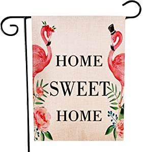Ogiselestyle Flamingo Garden Flag Home Sweet Home Double Sided Decorative House Small Yard Decor Flags for Indoor & Outdoor Decoration 12 X 18 Inch