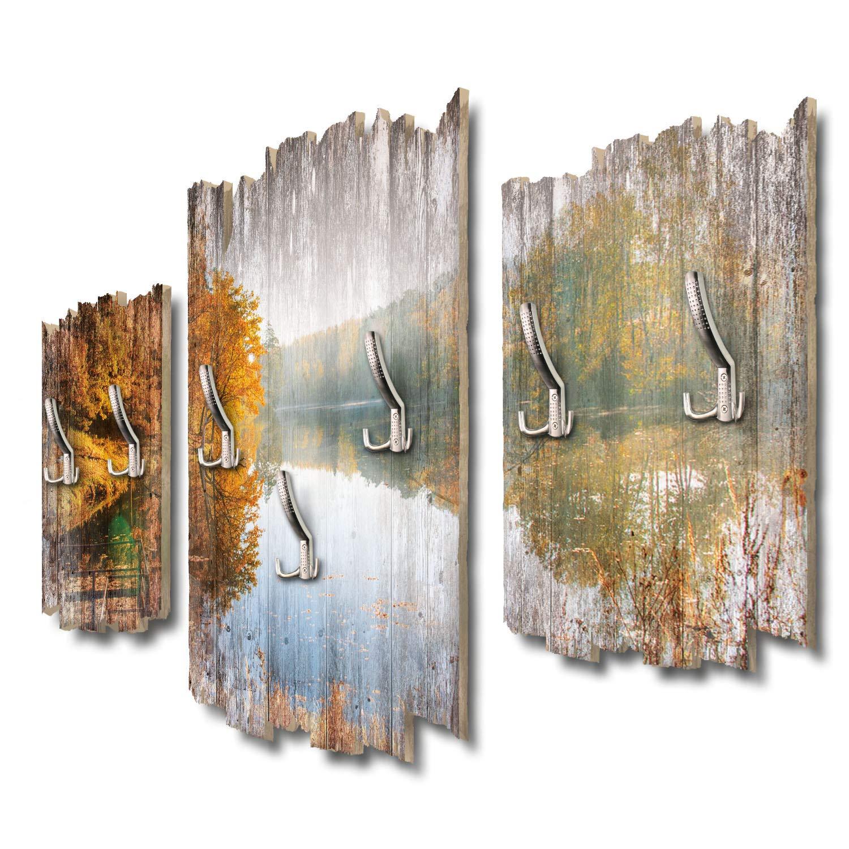 Kreative Feder Herbstlicher See Designer Wandgarderobe Flurgarderobe Wandpaneele 95 x 60 cm aus MDF DTGH061