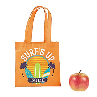 """12 Beach Totes Surfboard Surf's Up Dude Poly Non-Woven 8"""" Party Tote Bags"""