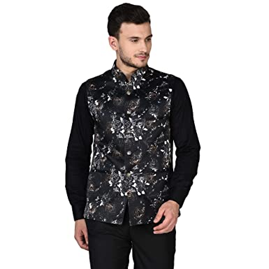 1624655834d Tag 7 Black Multi Printed Nehru Jacket  Amazon.in  Clothing   Accessories