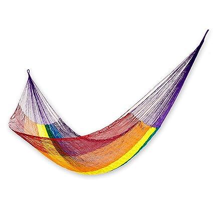 amazon com novica rainbow striped colorful 1 person mayan rope