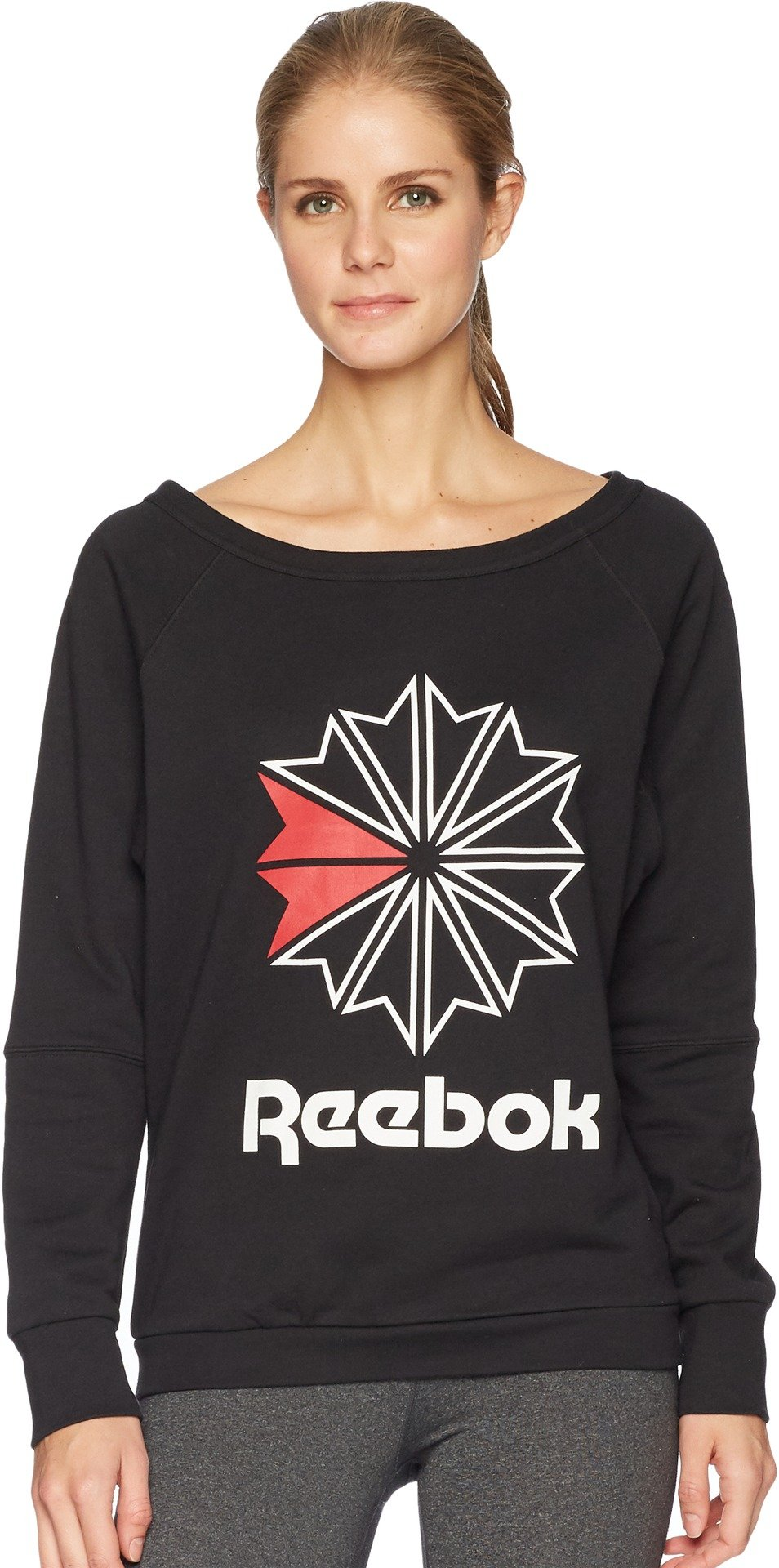 Reebok Women's Heritage Starcrest Crew, Black, X-Large