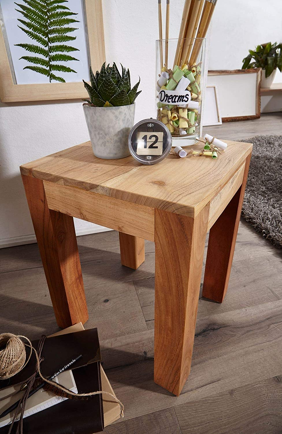 Square Storage Table Country Style Coffee Table Sofa Table Finebuy Side Table Solid Wood Acacia 35 X 45 X 35 Cm End Table Living Room Small Lounge Table Furniture Living Room Furniture